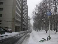 強風で飛ばされた自転車