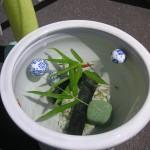 涼しげな金魚の水盤