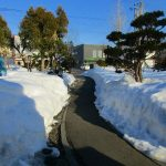 通路の雪は解けて暖か